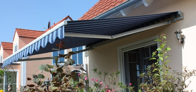 Light and dark blue striped awning