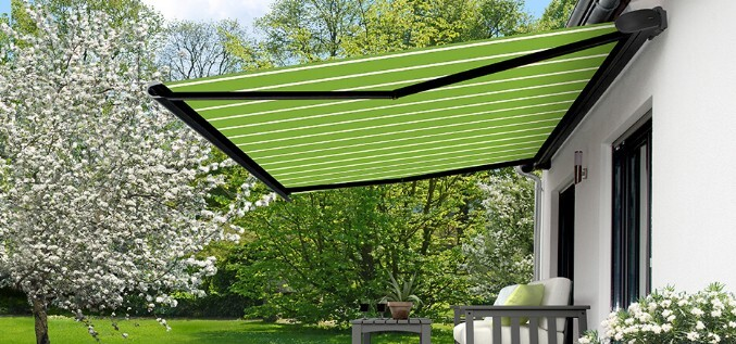 Lime green and white striped awning